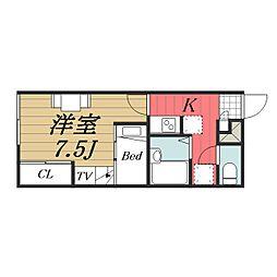 JR成田線 成田空港駅 バス16分 三里塚下車 徒歩8分の賃貸アパート 2階1Kの間取り