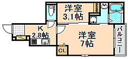 兵庫県伊丹市桜ケ丘1丁目の賃貸アパートの間取り