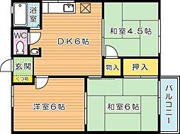 タウニィ熊西[2階]の間取り