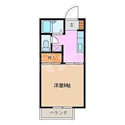 三重県名張市鴻之台1番町の賃貸アパートの間取り