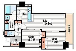 ブランズタワー・ウェリス心斎橋SOUTH[4階]の間取り