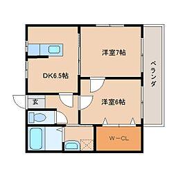 静岡県静岡市清水区興津本町の賃貸アパートの間取り