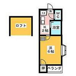 愛知県名古屋市中村区名楽町1丁目の賃貸アパートの間取り