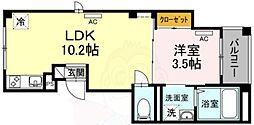 (仮)skye広尾 2階1LDKの間取り