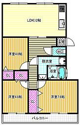 松原団地5号棟[5階]の間取り