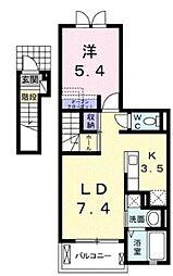 JR関西本線 平野駅 徒歩10分の賃貸アパート 2階1LDKの間取り