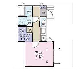 東京都板橋区常盤台2丁目の賃貸アパートの間取り