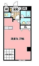 紺二ビル 6階ワンルームの間取り