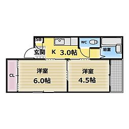 コーポK[4階]の間取り