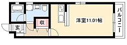NEST黒川 2階1Kの間取り