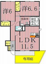 エクセレント三輪野山II[1階]の間取り