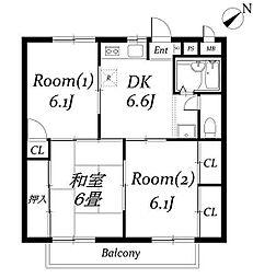 ハイツ新井III[1階]の間取り