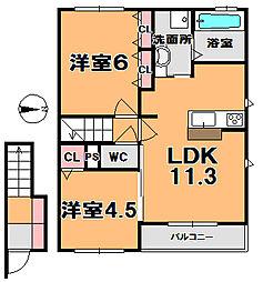 プラムコート大安寺A棟[2階]の間取り
