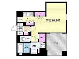 リーガル京都五条大宮 1階1Kの間取り