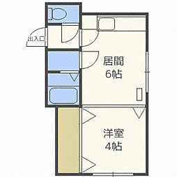 リズム424[4階]の間取り
