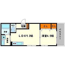 サンボナール 3階1LDKの間取り