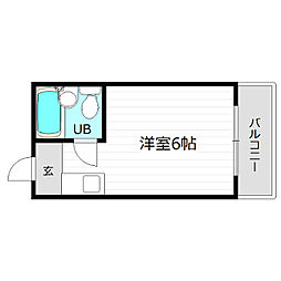 京阪本線 野江駅 徒歩7分の賃貸マンション 1階ワンルームの間取り
