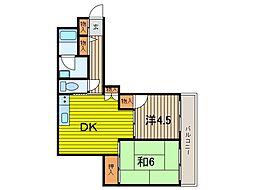 御蔵山マンション[3階]の間取り