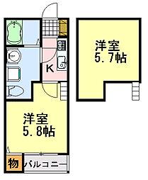 千葉県千葉市中央区亀岡町の賃貸アパートの間取り