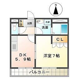 三重県鈴鹿市須賀2丁目の賃貸アパートの間取り