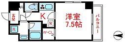 東武伊勢崎線 西新井駅 徒歩15分の賃貸マンション 3階1Kの間取り