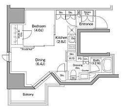 JR京浜東北・根岸線 関内駅 徒歩3分の賃貸マンション 3階1DKの間取り