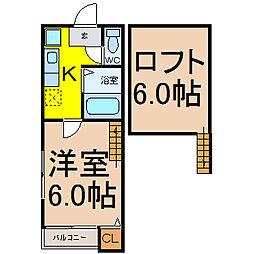 愛知県名古屋市守山区西新の賃貸アパートの間取り