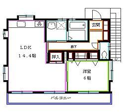 東京都東久留米市小山1丁目の賃貸アパートの間取り