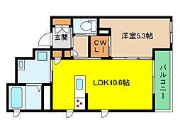 阪神本線 新在家駅 徒歩6分の賃貸マンション 1階1LDKの間取り