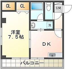 K1ビル 6階1DKの間取り