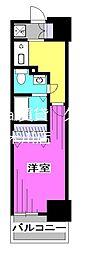 西武新宿線 久米川駅 徒歩4分の賃貸マンション 4階1Kの間取り