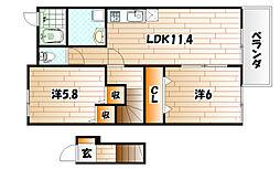 ブローマン杉A[2階]の間取り