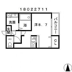 フジパレス駒川中野[3階]の間取り