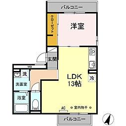 神奈川県横浜市保土ケ谷区法泉1丁目の賃貸アパートの間取り