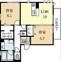 京都府城陽市平川指月の賃貸アパートの間取り