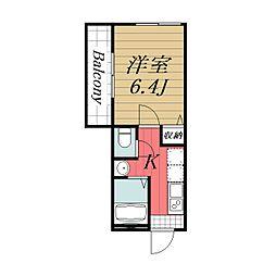 Apartment Narita I 2階1Kの間取り