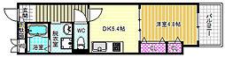 イーストヴィラ梅田 4階1DKの間取り