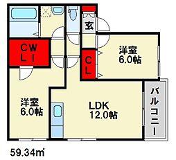 ラ・パンセ[2階]の間取り