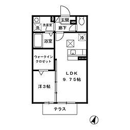 福岡県北九州市小倉南区徳力5丁目の賃貸アパートの間取り