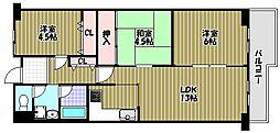 ファミリープラザ泉北光明池2番館B棟[3階]の間取り