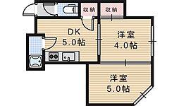ライズワン阿倍野3[302号室]の間取り