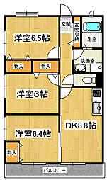静岡県三島市中の賃貸マンションの間取り