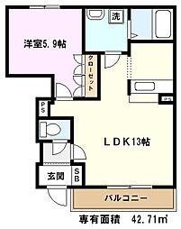 埼玉県川口市西新井宿の賃貸アパートの間取り