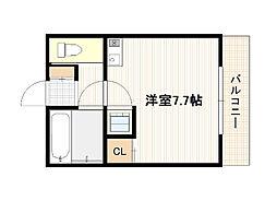 JR山陽本線 廿日市駅 徒歩25分の賃貸アパート 2階ワンルームの間取り