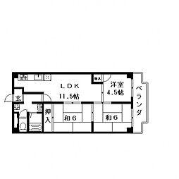 第2大原マンション[702号室号室]の間取り
