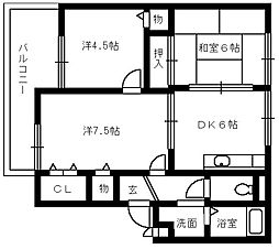 サファージュ高石 A棟[2階]の間取り