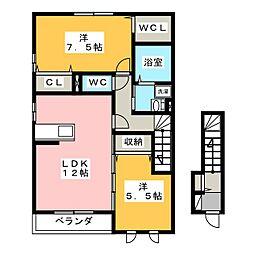 ラ メゾン デスポワ A[2階]の間取り