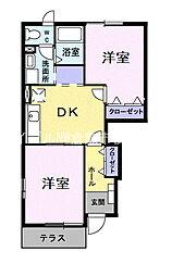岡山県浅口市鴨方町深田の賃貸アパートの間取り
