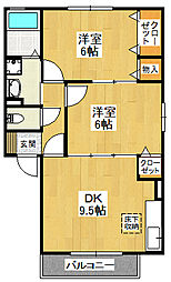 大阪府堺市東区日置荘原寺町の賃貸アパートの間取り