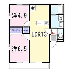姫路市継アパート[201号室]の間取り